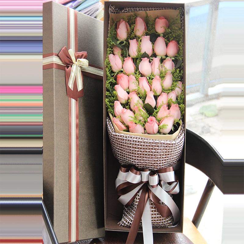 33支粉玫瑰花盒